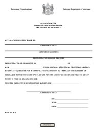 "Form H-1 ""Application for Managed Care Organization Certificate of Authority"" - Delaware"
