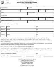 "Form YT-1 (State Form 47692) ""Application for Yard Tractor Permit"" - Indiana"