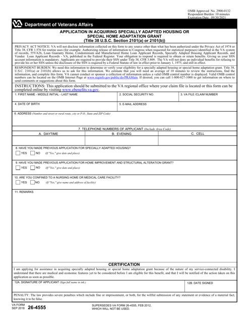 VA Form 26-4555  Printable Pdf