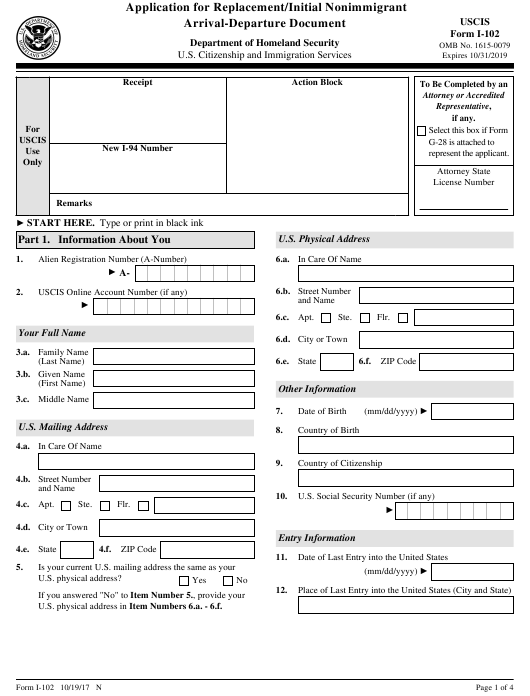 USCIS Form I-102 Download Fillable PDF, Application for