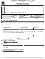 USCIS Form I-191 Application for Relief Under Former Section 212(C) of the Immigration and Nationality Act (Ina)
