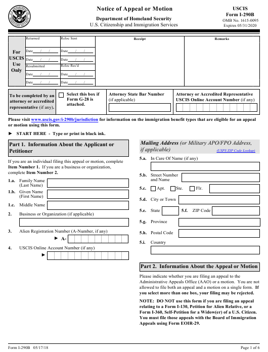 USCIS Form I-290B Download Fillable PDF, Notice of Appeal or