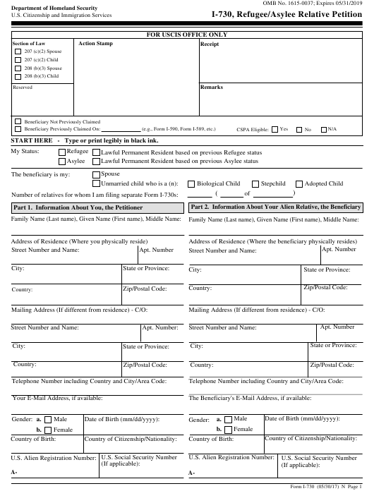 USCIS Form I-730 Download Fillable PDF, Refugee/Asylee