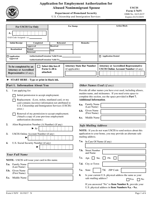 USCIS Form I-765V  Printable Pdf