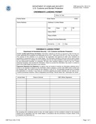 "CBP Form I-95 ""Crewman's Landing Permit"""