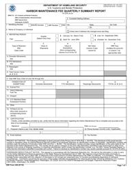 CBP Form 349 Harbor Maintenance Fee Quarterly Summary Report