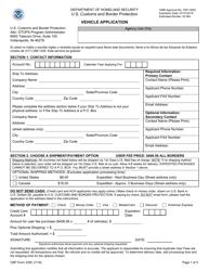 CBP Form 339C Vehicle Application