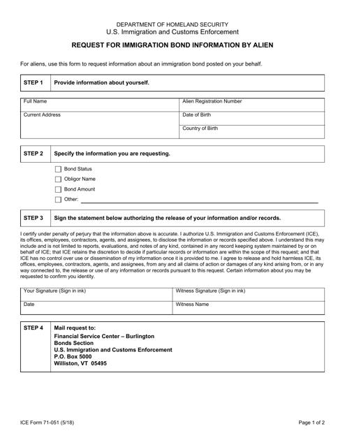 ICE Form 71-051  Printable Pdf