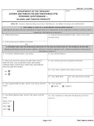 "TTB Form 5000.9 ""Personnel Questionnaire - Alcohol and Tobacco Products"""