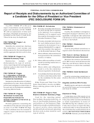 """Instructions for FEC Form 3P """"Report of Receipts and Disbursements by an Authorized Committee of a Candidate for the Office of President or Vice President"""""""