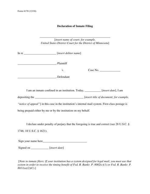 Form 4170  Printable Pdf
