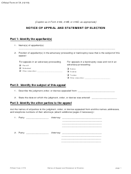 """Official Form 417A """"Notice of Appeal and Statement of Election"""""""