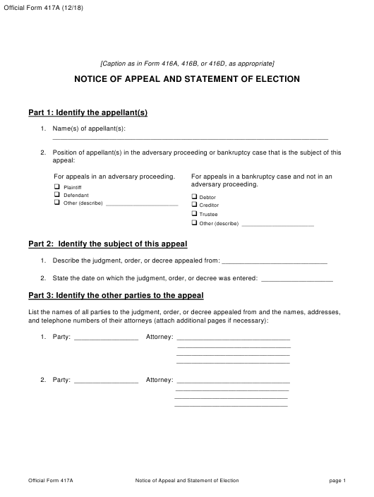 Official Form 417A  Printable Pdf