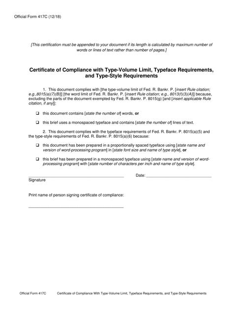Official Form 417C  Printable Pdf