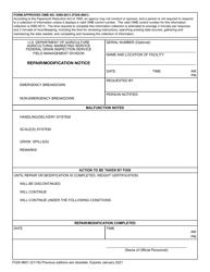 """Form FGIS-9601 """"Repair/Modification Notice"""""""
