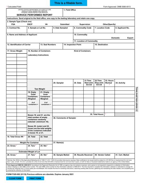 Form FGIS-992  Printable Pdf