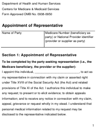 "Form CMS1696 ""Appointment of Representative - Large Print"""