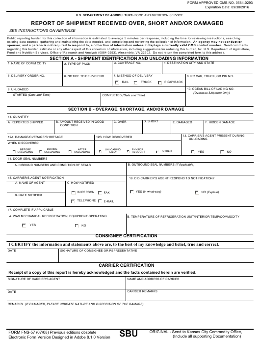 Form FNS-57 Download Fillable PDF, Report of Shipment