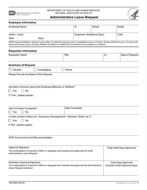 Form NIH2992  Printable Pdf