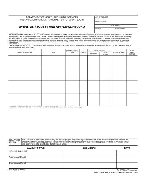 Form NIH-1962-2  Printable Pdf
