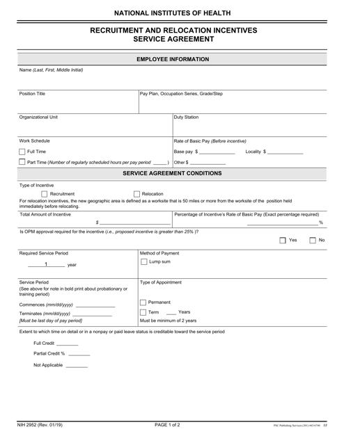 Form NIH2952 Printable Pdf