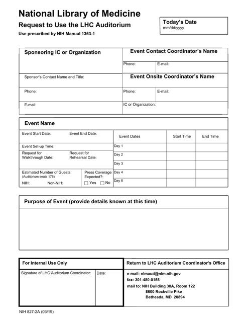 Form NIH827-2A  Printable Pdf