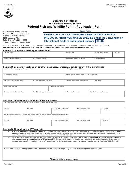 FWS Form 3-200-24 Printable Pdf