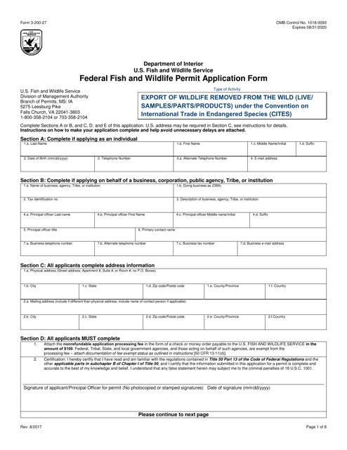 FWS Form 3-200-27  Printable Pdf