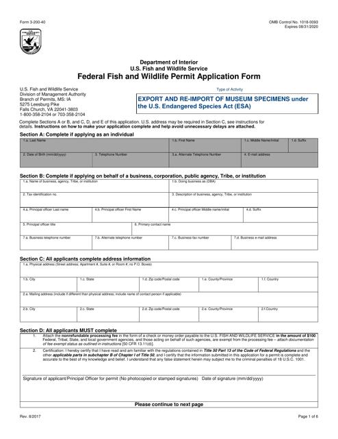 FWS Form 3-200-40 Printable Pdf