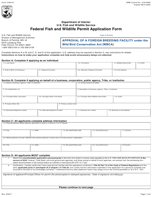 FWS Form 3-200-51  Printable Pdf