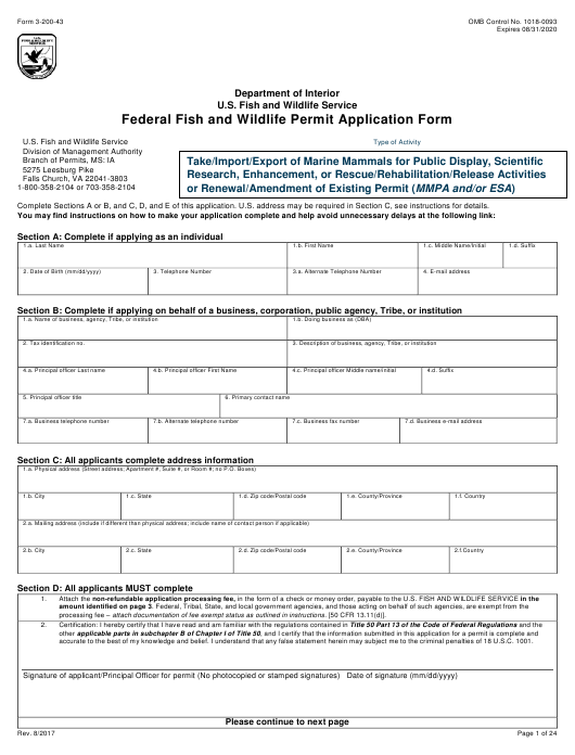 FWS Form 3-200-43 Download Fillable PDF, Federal Fish and