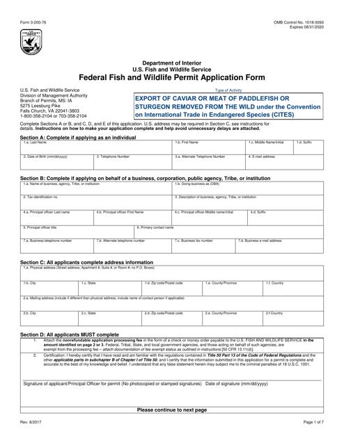 FWS Form 3-200-76  Printable Pdf