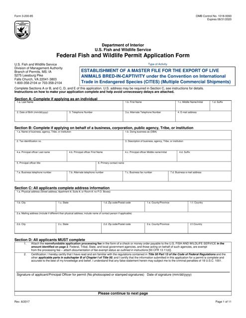 FWS Form 3-200-85  Printable Pdf