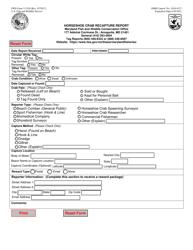 """FWS Form 3-2310 """"Horseshoe Crab Recapture Report"""""""