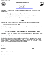 """FWS Form 3-2516 """"Statement of Hunter Ethics - Patuxent Research Refuge"""""""