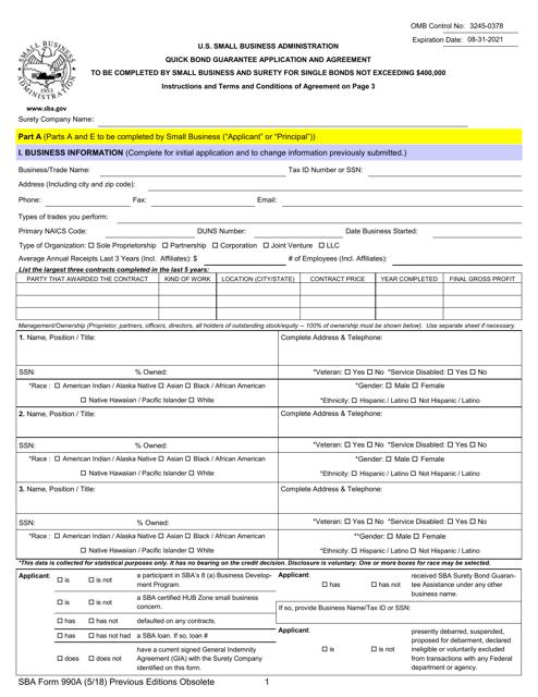 Sba Form 990a Download Fillable Pdf Quick Bond Guarantee