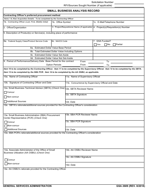 GSA Form 2689 Fillable Pdf