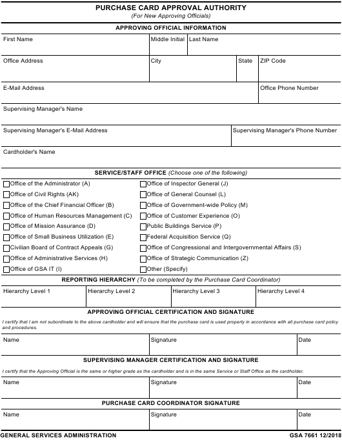GSA Form 7661  Printable Pdf