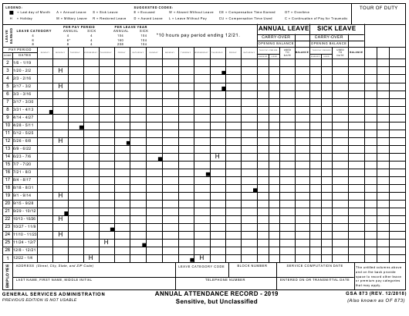 GSA Form 873 2019 Printable Pdf
