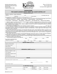 """Form ABC-803 """"Escrow Bond for Liquor Licenses Issued Under the Liquor Control Act"""" - Kansas"""