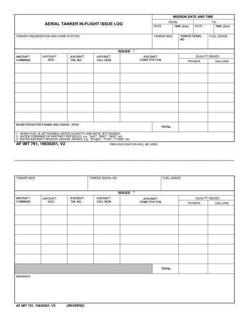 AF IMT Form 791  Printable Pdf