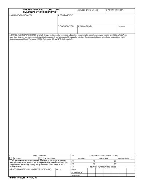 AF IMT Form 1065 Printable Pdf