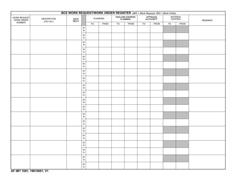 AF IMT Form 1081  Printable Pdf
