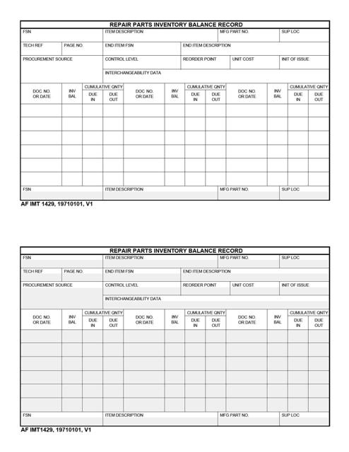 AF IMT Form 1429  Printable Pdf