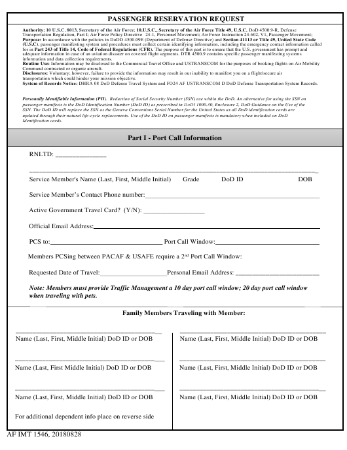 AF IMT Form 1546 Printable Pdf