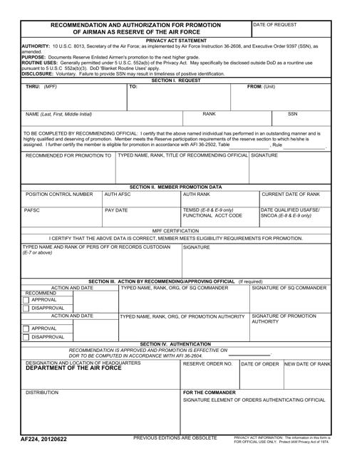AF Form 224 Printable Pdf