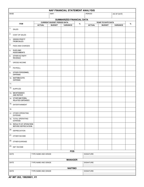 AF IMT Form 262 Printable Pdf