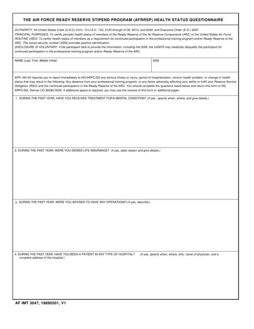 AF IMT Form 3047 Printable Pdf