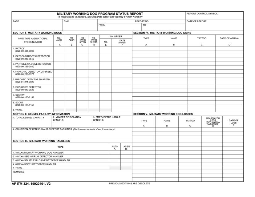 AF IMT Form 324  Printable Pdf