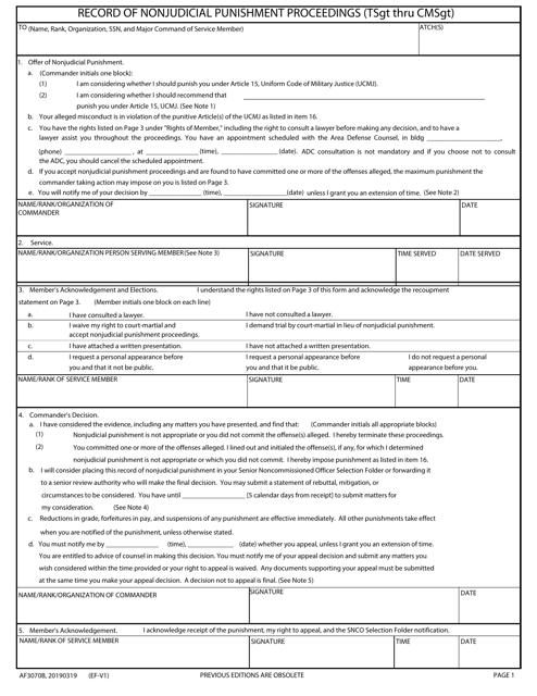 AF Form 3070B  Printable Pdf